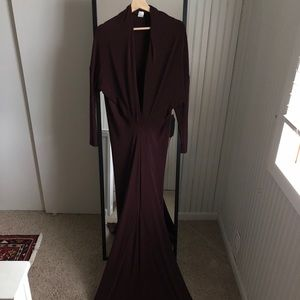 Maroon Plunging Neck long Sleeve Dress